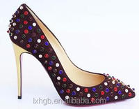 Pointed toe Burgundy Suede Jeweled colored Spikes Pump high heels sexy party evening bridal wedding shoes