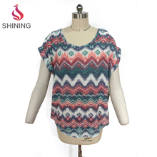 Fashion woman Loose fit lady round bottom t shirt knit with zig zag stripes ladies casual short sleeved blouses