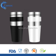 China supplier double wall stainless steel vacuum travel mug/coffee cup with stainless steel lid