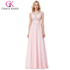 Grace Karin Elegant Sleeveless Sheer Bodice Chiffon Long Pink Evening Gowns Party Gowns 8 Size US 2~16 GK000141-1