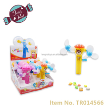 new style large flash deformation fan plastic toys candies with candy tube