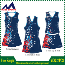 Custom made Design Sublimation netball Dresses/whole sale netball bodysuits
