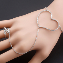 OUXI Fashion Jewelry The Butterfly Love Heart Finger Chain Hand Ring Bracelet