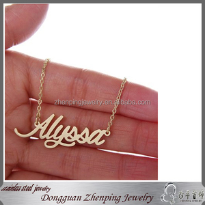 Diy Custom Cursive Script Name Necklace Name/letters/logo Stainless Steel Pendant Necklace