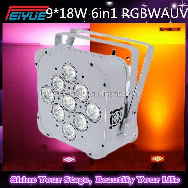 High Brightness Wireless Battery Power 9*18W Led Flat Par RGBWA UV DMX Led Stage Light Dj Equipment Disco Par Light