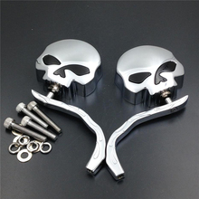 Motorcycle Universal New Cool Aluminum Rearview Mirrors For Harley Dyna Softail Sportster Bobber Chopper Skull Flame