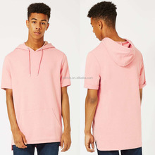 100% Cotton Pink Fixed Hem Oversized fit Drawstring Gym Running Sports Men's Short Sleeve Hoodie