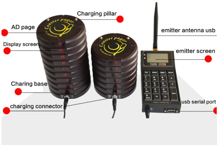 Wireless Waterproof Coaster Pagers for Restaurants with 10 Coaster Pagers