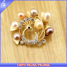 Mixed Color Pearl Wedding Brooch, Elegant Animal Design Peacock Shaped Jewelry