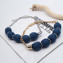 Chunky Cloth Bead Necklace Plated Chain Necklace 2017