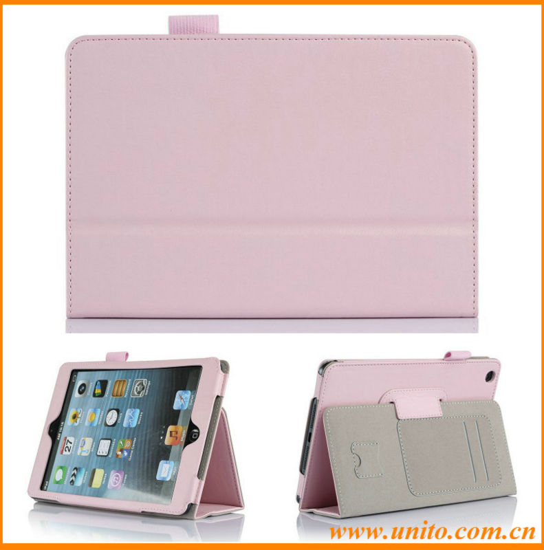 stand leather case with SD&credit card slot,lether case for ipad mini 2
