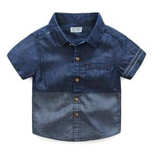 Wholesale newborn baby clothes T-shirt 100% Cotton Baby denim polo shirts