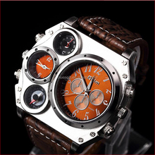 Temperature compass plate decoration men sport two time zone wrist watch