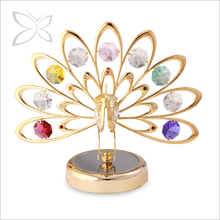 Special Price Gold Plated Metal Crystal Peacock Figurine