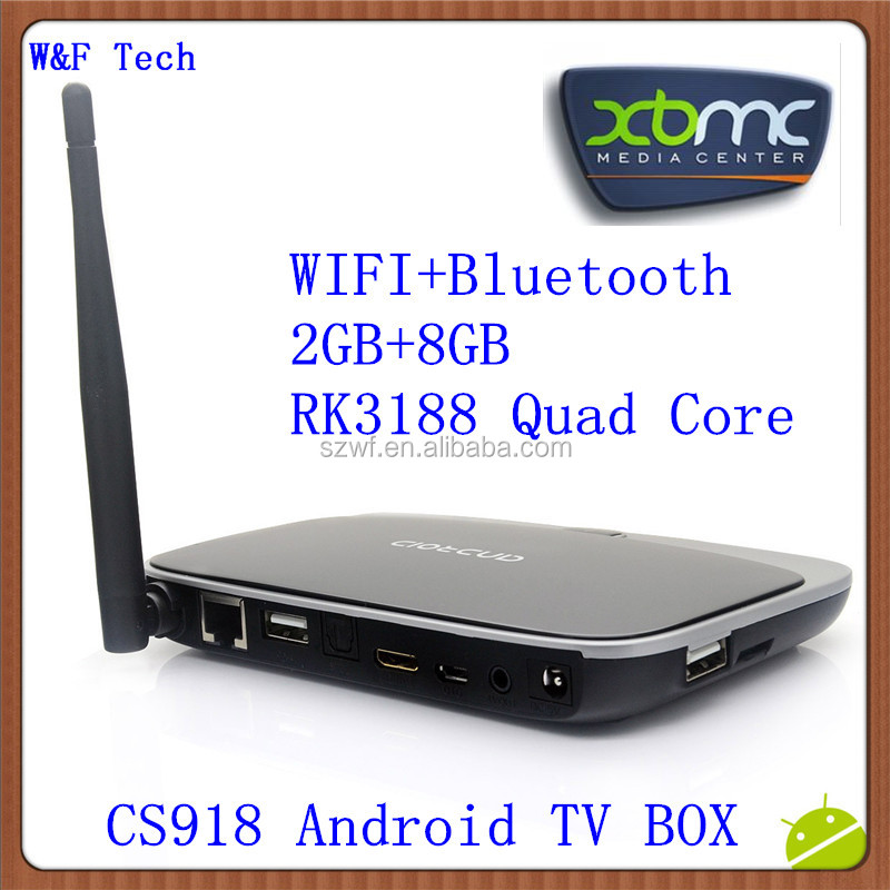 Wholesale WiFi Antanna Google Smart tv box CS918 Preinstalled XBMC rk3188 quad core android tv box 4.2 backup system