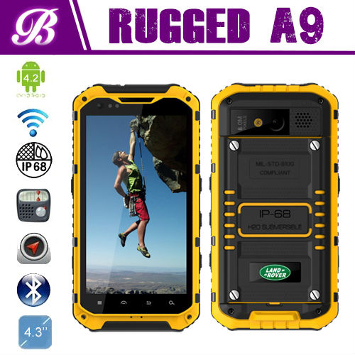 4.3inch MTK6589 Quad core 1.5G NFC 3G waterproof landrover a9 ip67 walkie talkie rugged phone
