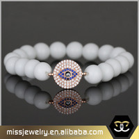Fashionable design 14k gold evil eye white agate bracelet for men, natural stone bracelet