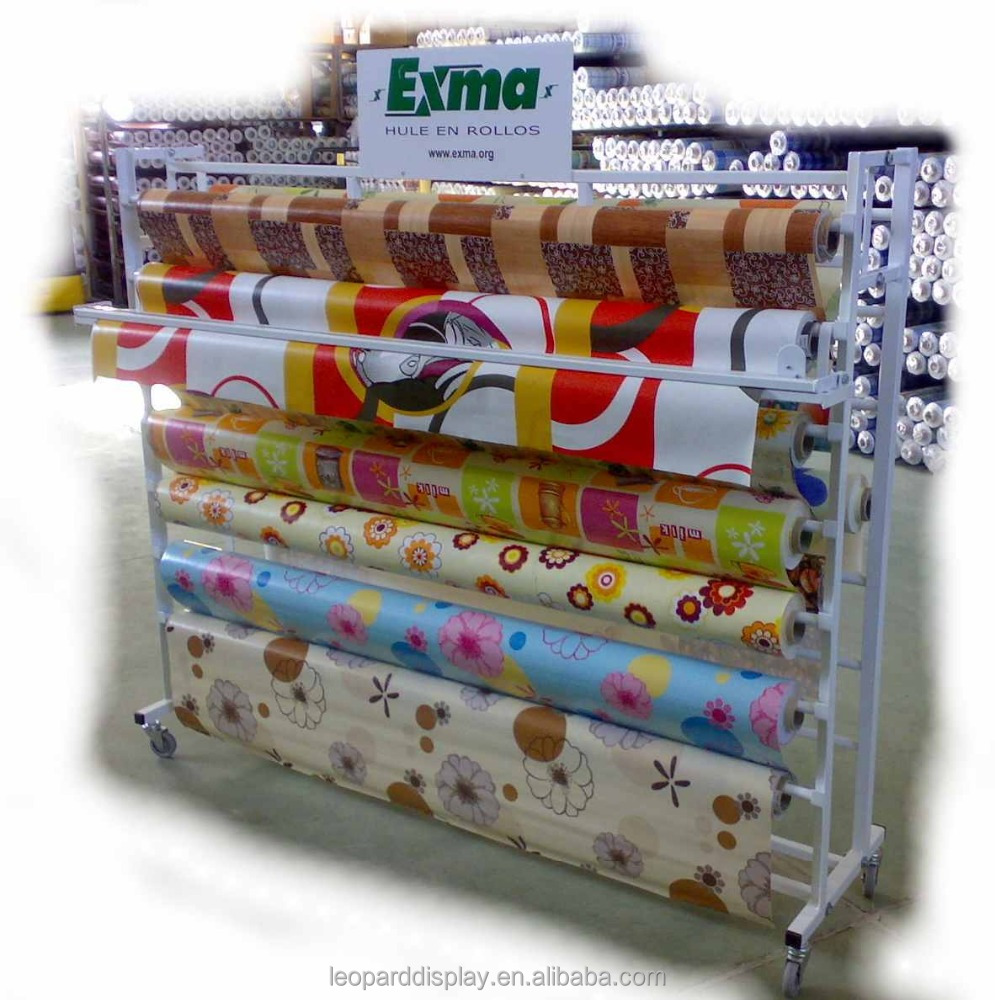 Metal fabric vinyl rolls display stand