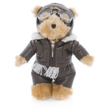 promotional beautiful customized plush aviation flying pilot teddy bear with garment&glasses