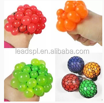High quality Bead Stress Ball Rubber squeeze grape ball Toy Mesh Squishy Ball