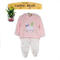 Embroidery winter thick baby girl under wear of fleece fabric and hat