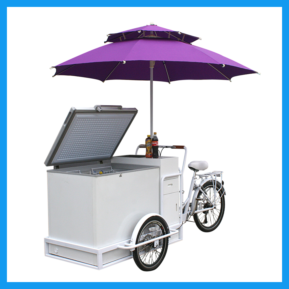 Street Service 3 Wheel Electric Ice Cream Bike For Business Use