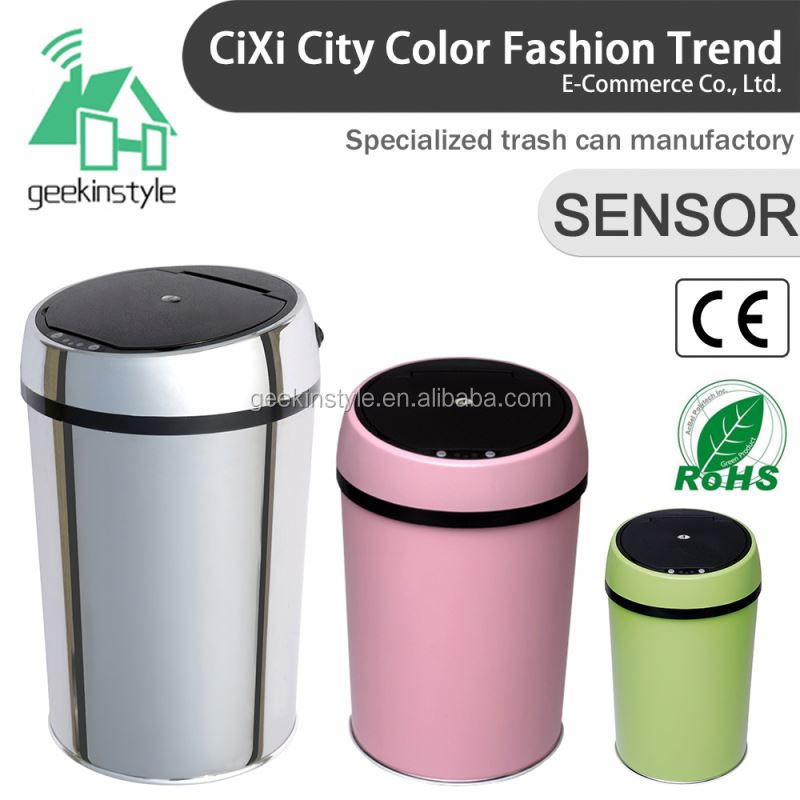 1.5-3 Gallon Round Infrared Touchless Dustbin Stainless Steel Waste bin metal garbage cans wheels SD-005
