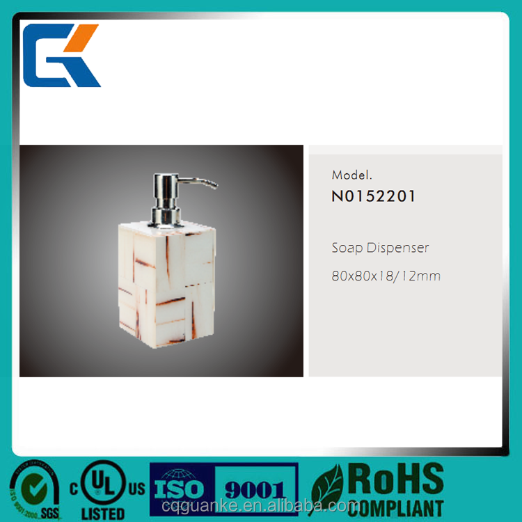 Newest cheap high quality durable iron white Acrylic hotel soap dispenser