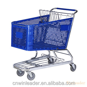 Black color supermarket shopping cart trolley with heacy plastic basket