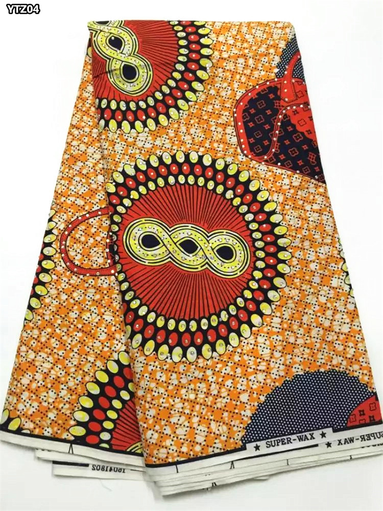 veritable super wax new pattern printed fabric African style wax print 100% cotton wax prints fabric with stones YTZ04