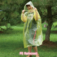 Cheap PE semitransparent Yellow Motorcycle Raincoat