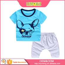 Baby clothes 1-6 years old fashion design cotton puppy pattern kid's favorite T-shirt and shorts set