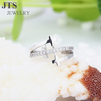 JTS 2016 Hot Cross Rings 18K White Gold Plated Copper Brass Micro Pave Setting CZ Jewelry Engagement Ring R098
