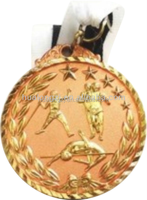 javelin throw runner hurdle race athletic medal in gold color in 5cmX5cm with custom ribbon