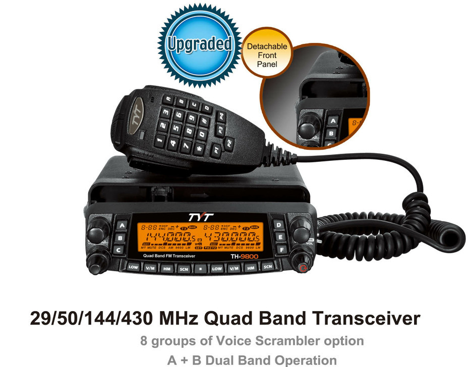 TYT Quad Band Transceiver 10M/6M/2M/70cm VHF/UHF TH-9800 MOBILE RADIO Two Way and Amateur Radio with HH9900 Antenna