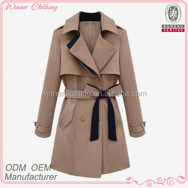 Fashionable OEM factory direct ready made coats with self belt