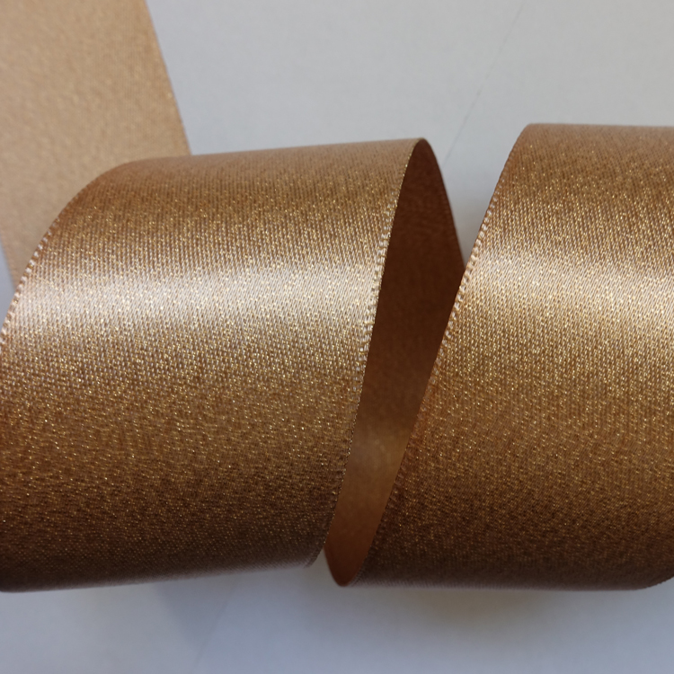 Double Sides Gold Polyester Glitter Metallic Ribbon Roll
