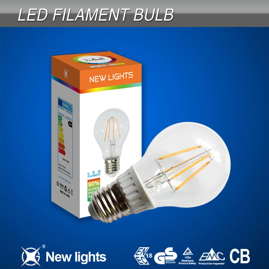 New Lights Hot Selling 4W A60 Led Filament Bulb Directly Replace 40W Halogen Lamp