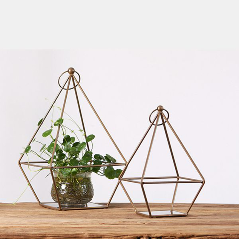Creative and simple geometric iron decoration, hanging style flower holder decoration, Nordic home decoration