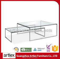 Modern Chromed Coffee Shop Furniture Save Guangzhou Space Metal Frame Tempered Glass Coffee Table