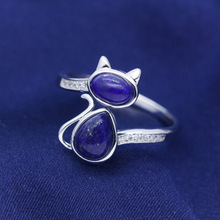 SJJ549 Delicate Animal Cat Jewelry Real 925 Sterling Silver Lapis Lazuli Cat Finger Ring for Women