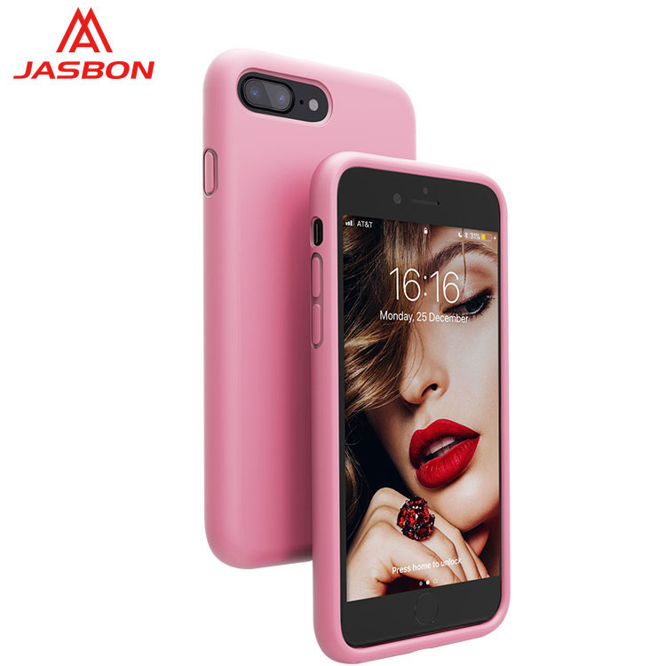 JASBON 2018 new color Bright pink thickened custom gel phone case silicone gel phone case for iphone 7/8Plus case for cell phone