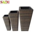 Eco-friendly hand-woven plastic rattan plant pot garden flower pot for sale