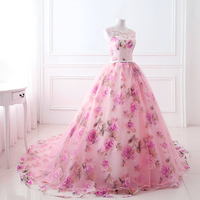 Cheap Long Train Ball Gown Dress Best-selling Women's Colorful Lace Plus Size Evening Gown Dresses for Wedding