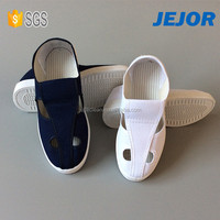 White Canvas PU Mesh Cleanroom 4 Holes ESD Shoes