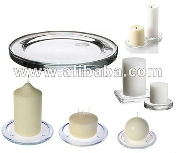 Clear gift sets flat glass pillar candle holders buy for Flat candle holders