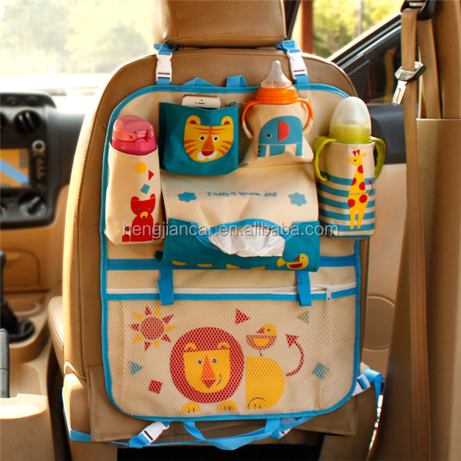 Baby kids cute cartoon car seat back storage bag travel organizer