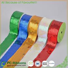 PC hot sale Sequin Grosgrain Ribbon high quality sequin ribbon