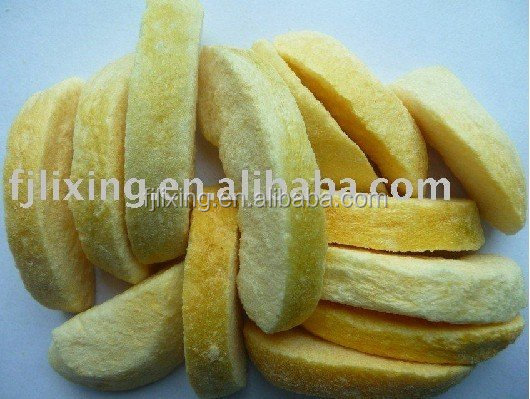 Dried fruit of yellow peach strips freeze-dried style