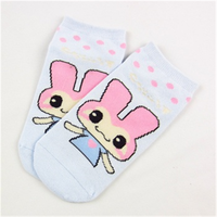 WSP-1265 Wholesale Jacquard Cute Animal Rabbit Design Korean Style Color Blue Woman Autumn Ankle Socks China Factory